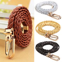 Vente en gros- New Women Braided PU Leather Ceinture étroite Boucle Ceinture Ceinture All-Match BDIH