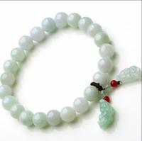 Wholesale Jade Bracelet Carving - 100% A Grade Natural Jade Jadeite 7mm Beads String Bracelet Carved Dragon Son Pixiu 1PCS