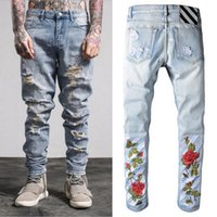 Wholesale rose 31 - 2017 Brand Rock Style Ripped Skinny Jeans Man Rose Embroidery Male Damage Denim Trousers In Light Blue Guy