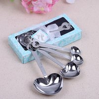 Wholesale hearts beyond measure spoons resale online - 50sets set Love Beyond Measure Heart shaped Measuring Spoons wedding favors gifts WA2607