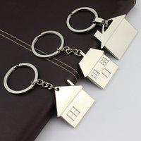 Wholesale BY DHL New Metal Mini House Shaped Keychains Cottage Keyrings Free Custom LOGO Gifts for Promotion