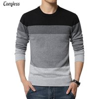 Wholesale Yellow Colored Computer - Wholesale- 2016 New Autumn Fashion Brand Casual Sweater O-Neck Striped Slim Fit Knitting Mens Sweaters And Pullovers Men Pullover Men 5XL