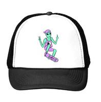 Wholesale Aliens Drop Ship - Wholesale- alien skateboard Print Baseball Cap Trucker Hat For Women Men Unisex Mesh Adjustable Size Tumblr Drop Ship M-122