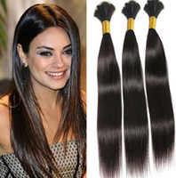 Wholesale Cheap Hair Weft Bulk - 8A Braid Hair Peruvian Human Hair Bulk For Braids Cheap Straight Hair Extensions 100g pcs 3 Bundles Bulk No Weft