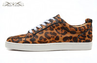 MBF996J Taille 35-47 Hommes Femmes Leopard Print Leather Genuine Horsehair Low Top Bas Basse Sneakers, Unisex Luxe Confort Chaussures Casual