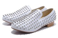 Wholesale Mens Loafers Style - LTTL Custom made Super Leather White spikes mens loafers flat Slip-on Style Men Dress Shoes Men Business Dress Shoes