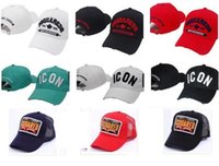 Wholesale Icons Print - icon cap 100% Cotton Luxury brand cap icon Embroidery hats for men 6 panel Black snapback hat men casual visor gorras bone DSQ