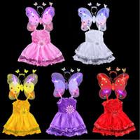 Wholesale Teenage Wholesale Decorations - 2017 New Kids Girls Fairy Princess Butterfly Headband Wings Wand Sticks Dress Costume Cosplay Birthday Fancy Dress Decoration