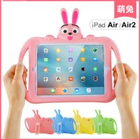 Cute Rabbit Shockproof Kids Handle EVA Custodia protettiva in schiuma antiscivolo resistente agli urti per Apple iPad 6 (air 2)