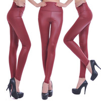 Wholesale Sexy Leggings Tights Feet - 2017 New Fashion women's Sexy Skinny Leggings Large Size Women High Waist Leather Leggings Waist Tight Pants Feet Leggings