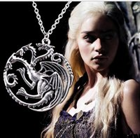New Flim Jewelry Daenerys Targaryen Colar Pingente Dragão Jogo de Trono Fire And Blood Movie