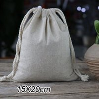 "Wholesale Muslin Pouches - Cotton Linen Gift Bag 15X20cm(6""x8"") pack of 50 Wedding Birthday Party Favor Holder Muslin Jewelry Drawstring Packaging Pouch"