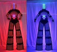 traje de traje de robô venda por atacado-RGB Flashing LED Costume / LED Palafitas Walker / Fatos Leves / LED Ternos Robot / Robô Kryoman / david guetta robot com Capacete