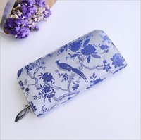 Wholesale Peacock Holder - 2017 AMEISY Brand Women Vintage Wallet Peacock Flowers Embroided Polyester Long Purse National Wind Clutch Card Holder Porte Monnaie Femme