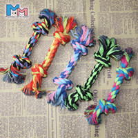 Wholesale Dog Tug Rope - 16cm Durable Puppy Pet Dog Chew Cotton Braided Rope 2 Knot Tug Chew Toys Wholesale