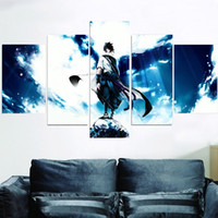 Wholesale Blue Wall Decor Art Canvas - 5pcs set Unframed Naruto Ninja Sasuke Blue Sky HD Print On Canvas Wall Art Painting For Living Room Decor