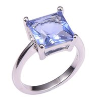 Wholesale Tanzanite Solitaire Ring - Simulated Tanzanite 925 Sterling Silver Wedding Party Fashion Design Romantic Ring Size 5 6 7 8 9 10 11
