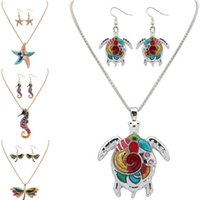 Wholesale dragonfly earrings necklace set for sale - Group buy Maxi Statement Choker Rainbow turtle starfish dolphin dragonfly Hippocampus Necklace earring set Collar Pendant Fashion New Enamel Jewelry
