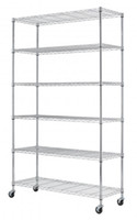 "Wholesale chrome rack - Chrome 82""x48""x18"" 6 Tier Layer Shelf Adjustable Wire Metal Shelving Rack With Wheels"