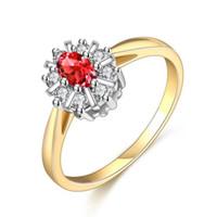 beyaz altın düşük fiyatlar toptan satış-Moda Yüksek Kalite Mavi Kırmızı Kalp Zirkon Bakır Bankası Gerçek Beyaz Altın Yüzük Güzel Takı Hediye Düşük Fiyat RIG73