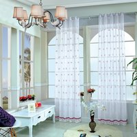 Wholesale Curtain Rods Tracks Accessories - OnnPnnQ 100*250cm Fashion European Embroidery Flowers Screens Window Curtains for Home Living Room Bedroom Valance Home Decor