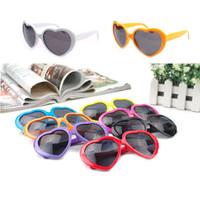Wholesale heart shaped sunglasses men resale online - Sun Glasses Peach Heart Sunglasses Kids Adults Children Women Men Heart shaped Glasses for Beach