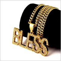 Wholesale Blessing Fashion - Fashion 18K gold letter Bless Rhinestones Diamond Pendants Necklaces men women HIPHOP hip hop nightclub charm chain necklaces Jewelry gifts