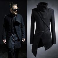Wholesale Korean Overcoat Mens - Wholesale- 2017 Korean Harajuku Gothic Irregular Designer Punk Men's Overcoat Long Black Mens Trench Coat Men Slim Fit Jacket Windbreaker