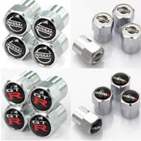 Wholesale Gtr Badge - Nissan Nismo GTR Mini Metal Tire Valve Valves Tyre Dust Cap Caps MT Car Badge Emblem Badges for Audi