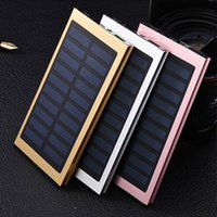 Wholesale external power ipad - Ultrathin Dual-USB 20000mah Solar Power Bank External Battery Waterproof Portable Solar Charger with LED Light for iphone IPAD Android