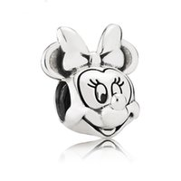 Wholesale Wholesale Fused Glass Plates - 100% Authentic 925 Sterling Silver Plated Minnie & Mickey Charm Beads Fit Bracelet Pendants DIY Original Jewelry