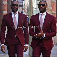 Wholesale High Quality Tuxedos - Wholesale- High Quality 2017 Formal Wear Burgundy Mens Wedding Suits Tuxedos For Men Groom Best Man Suits Custom Made (Jacket+Pants+Tie)