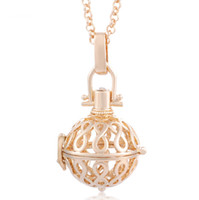 Wholesale White Gold Filigree - Filigree Infinity Cage Pendant Necklace 18K Gold Music Chime Ball Prenatal Education Baby Caller Harmony Ball Pregnancy Necklace