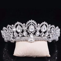 Wholesale Vintage Heart Wedding Crown - 2017 Vintage Big Rhinestone Prom Queen Crown Crystal Bride Quinceanera Tiaras Bridal Head Jewelry Pageant Wedding Hair Accessories CPA792