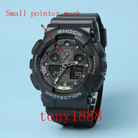 Wholesale watch g shock black - AAA Drop shipping Top quality GA100 brand men G sports digital LED watch with Autolight and shock and waterproof all pointers work with box