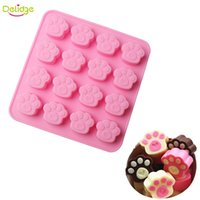 Delidge 10 pc 16 Agujeros Cat Pies Forma Chocolate Mould Silicone Cute Dog Pegatina Bollo Molde DIY Baking Jelly Cake Decoración Mould