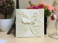 Wholesale Ivory Purple Wedding Invitations - New 2018 Ivory Purple Laser Cut Flower Hollow Wedding Invitations Cards With Ribbon Bow Wedding Banquet Party Cards