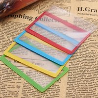Wholesale Ultra thin Credit Card Magnifier Bookmark Read Reading Bookmark Big Magnifying Area times Unique Gift Color Randomly