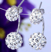 Wholesale heart disco ball online - Women Fashion Sterling Silver Double sided Shambala Ball Stud Earrings Diamond Crystal disco beads Earings fine Jewelry for women girls