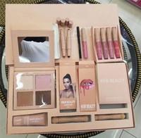 Wholesale Pink Brushes - New Makeup Set Kylie Jenner KKW BEAUTY Persistent Cosmetic Set 7in1 Lipsticks highlighter contour kit Brush Kim BB Cream Full Set DHL