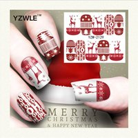 Wholesale Diy Printing Nail Art - Wholesale- YZWLE 1 Sheet Christmas Design DIY Decals Nails Art Water Transfer Printing Stickers Accessories For Manicure Salon (YZW-2129)