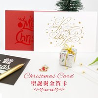 Wholesale Christmas Envelope Stickers - Wholesale- NOTE FOR Christmas Card Envelope Sticker Set High Quality Laser Gold Printed Paper Envelope Set Gift Card with Stickers