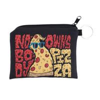 mini pizza al por mayor-Al por mayor- Moda Pizza 3D Monedero de la impresión con cremallera Mini Cartera Hombres y mujeres Bolsa de señoras Monedero Diseñador Bolsos Embrague