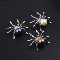 Al por mayor-Unique High Quality Animal Spider Rhinestone completo perlas de imitación broche lindo pernos broches clip de la bufanda