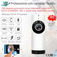 Wholesale Network Card Detection - 180-degree panoramic camera wireless WIFI 720P HD network camera ultra-wide angle fisheye Ip camera IR Night Vision TF Card Slot