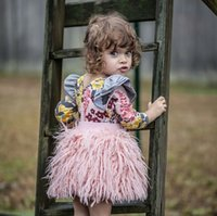Wholesale Hot Girls Clothes Wholesale - Everweekend Girls Ins Hot Sell Tassels Faux Fur Pink Tutu Skirts Ruffles Toddler Baby Fashion Clothing Autumn Spring Skirt