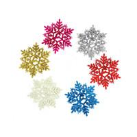 Wholesale Set Plastic Snowflake Ornaments - Wholesale-6Pcs set 11cm Christmas Snow Powder Artificial Snowflakes Pendants Christmas Tree Ornaments Party Decoration For Xmas Supplies
