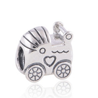 Wholesale Fine Baby Jewelry - Wholesale- Fits European Charms Bracelet Sterling Silver Jewelry Beads Screw Hole Baby Cart Pattern Fashoin DIY Fine Jewelry Findings