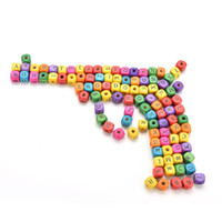 Wholesale Square Alphabet Beads - Wholesale- 100Pcs set Colourful Cube Alphabet Letters Wood Bead Square Loose Beads For Kids Learning Math Toys