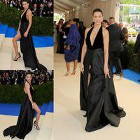 Wholesale Taffeta Gala Dresses - Sexy Gala Red Carpet Little Black Celebrity Dresses A Line Split Evening Dresses With Deep V Neck Party Prom Gowns